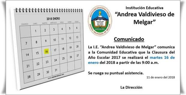 Comunicado de Clausura del Año Escolar 2017