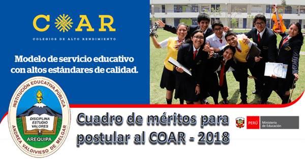 Cuadro de méritos para postular al COAR 2018-01