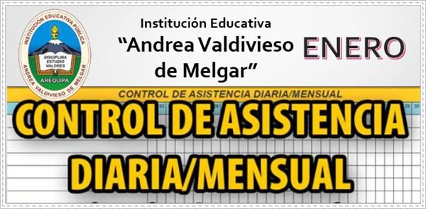 Parte de Asistencia Mensual de Enero Andrea Valdivieso de Melgar