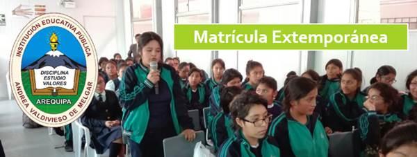 Matrícula Extemporánea IE Andrea Valdivieso de Melgar