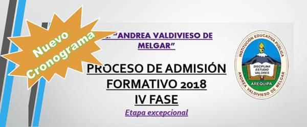 Nuevo cronograma Admisión Excepcional IV Fase 2018