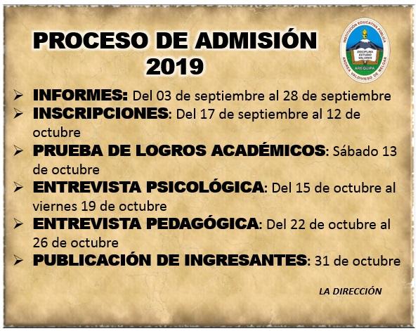 Cronograma del Proceso de Admisión 2019 - I Fase