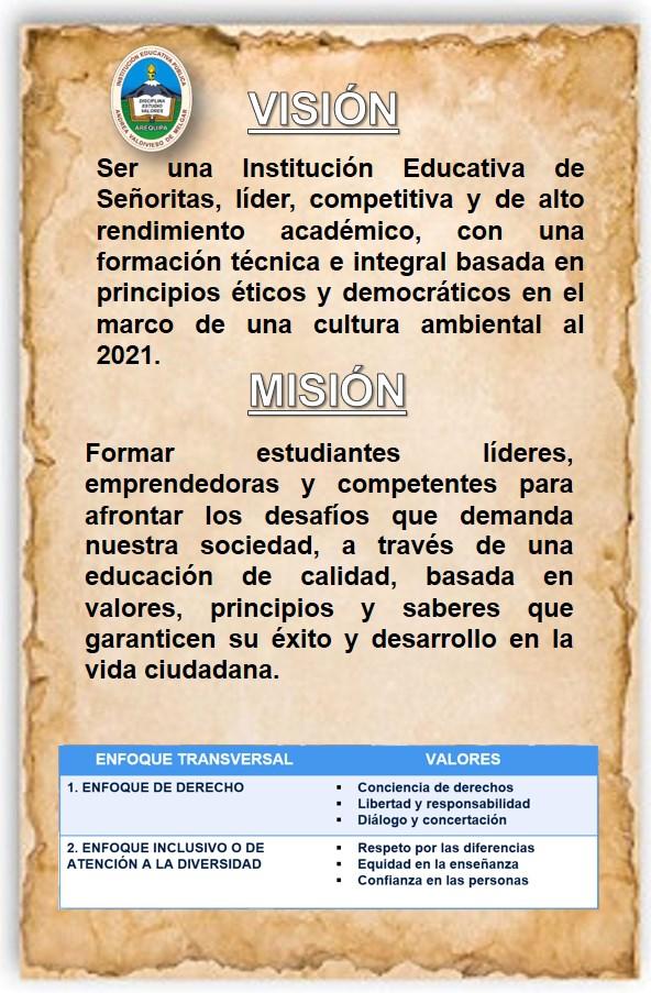 vision mision y valores institucionales